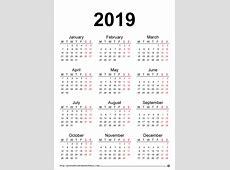 2019 Printable Calendar Word printable year calendar