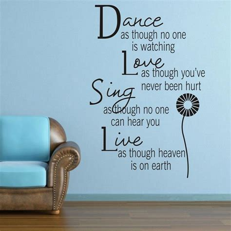 Dance love the wall sticker is made of good quality of pvc material. Dance Love Sing Live Wall Sticker Quotes Art Home Decor Vinyl Decal Living Room Removable Kids ...