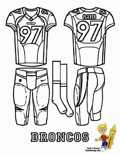 Coloring Pages Denver Football Uniform Jersey Broncos