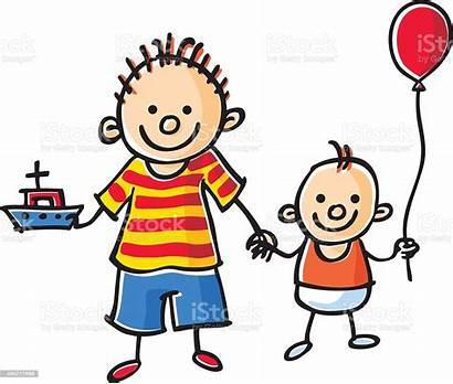 Brother Vector Illustration Human Balloon Age Boys
