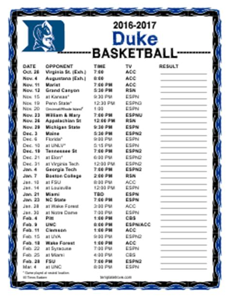 printable   duke blue devils basketball schedule