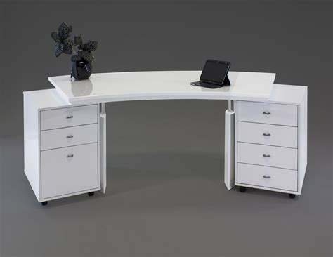 executive desk white modern white lacquer curved executive desk with mobile