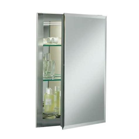 home depot kohler recessed medicine cabinet 16 in w x 20 in h x 5 in d aluminum recessed medicine