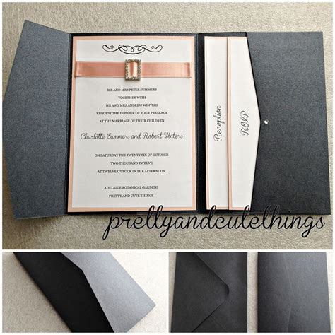 Black Metallic Wedding Invitations Diy Pocket Cards