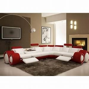 Canape Angle Rouge : canap d 39 angle cuir rouge et blanc rel achat vente canap sofa divan cuir bois ~ Teatrodelosmanantiales.com Idées de Décoration