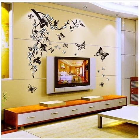 bedroom wall stickers removable black vinyl butterfly vine flower wall decal 10749   s l1000