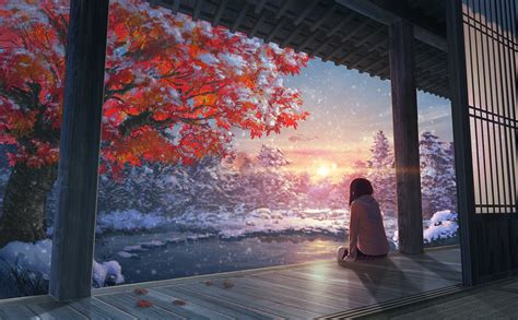 hd wallpapers   fall snow japanese