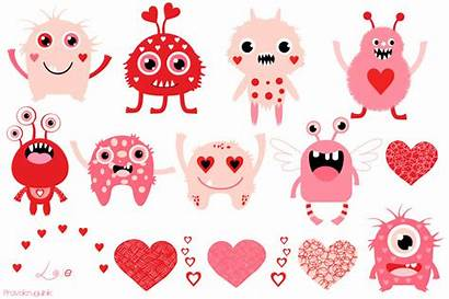 Valentine Clip Monster Clipart Monsters Pink Graphics
