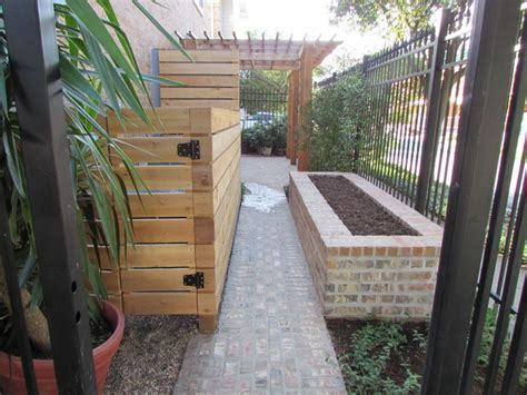 high function in a small side yard pergola raised bed