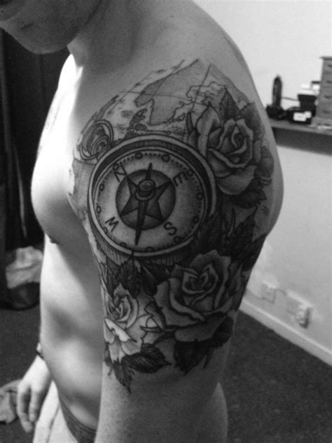 My new quarter sleeve rose and compass tattoo.... by Ross Nagle, All Star Ink | Quarter sleeve