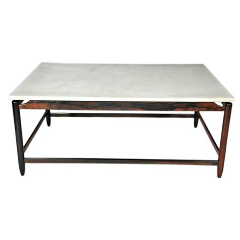 sergio rodrigues rosewood and white marble coffee table at