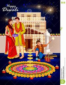Indian Couple With Diya Decoration For Diwali Festival