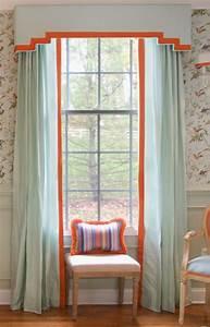 Modern Cornice Board Pale Blue Silk With Orange Trim One