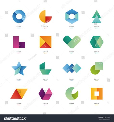 Abstract Cool Geometric Shapes by Collection Of Abstract Blank Symbols Simple Geometric