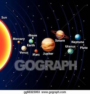 Vector Art - Solar system colorful vector background ...