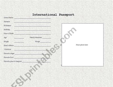 english worksheets student passport template