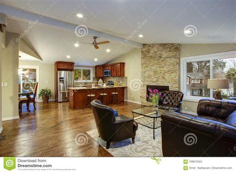luxury great room design  open floor plan stock photo image  couch brown