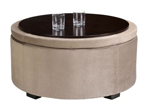 round storage ottoman with tray light brown upholstered round ottoman coffee table with
