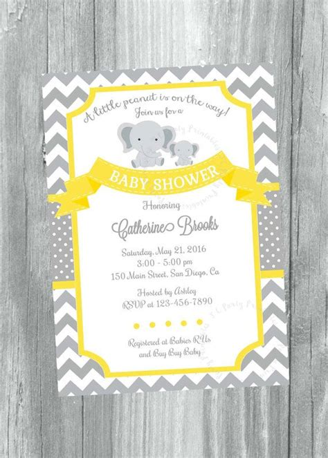 Grey And Yellow Chevron Baby Shower Invitation By