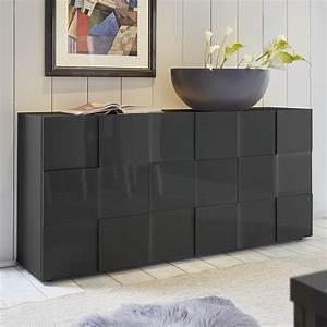 Buffet Gris Laqué : buffet bas design gris laqu brillant sofamobili ~ Teatrodelosmanantiales.com Idées de Décoration