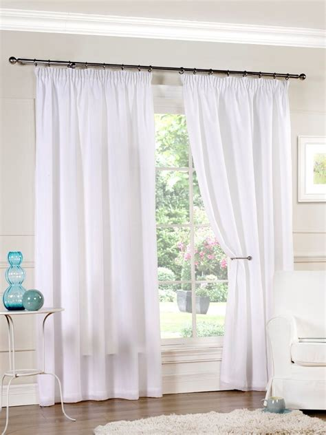 Voile Curtains by Luxury Pair Of Ready Made White Lined Voile Pencil Pleat 3