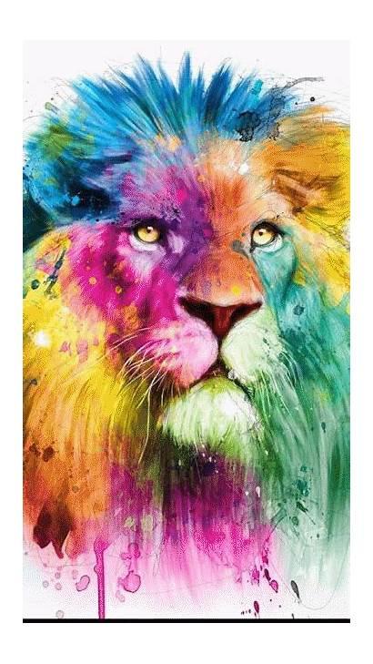 Lion Watercolor Colorful Animals Leao Artwork Graffiti