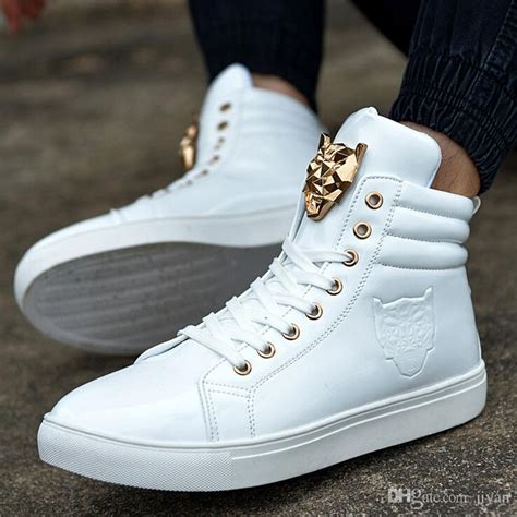 New Fashion High Top Sports Shoe For Men Leather Lace