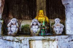 three wise monkey statues stock of statue 50241170