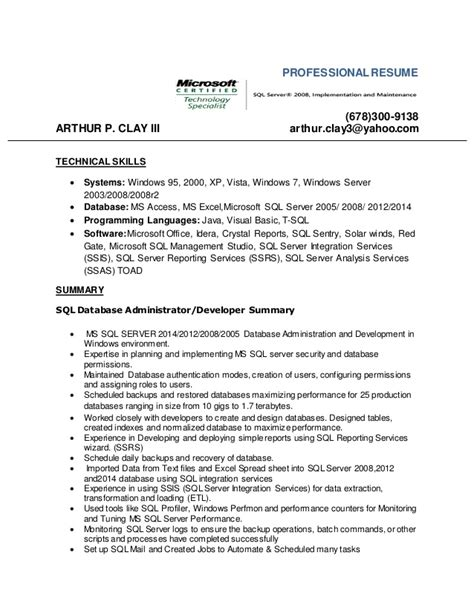 Sql Skills Resume by Database Admin Resume 2016l Microsoft Sql Server 2008 Mcts 1