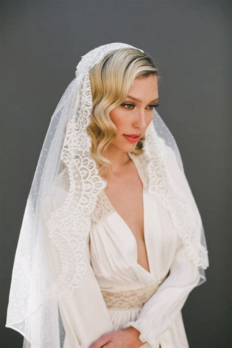 Chantilly Lace Juliet Cap Veil Wedding Veil Polka Dot