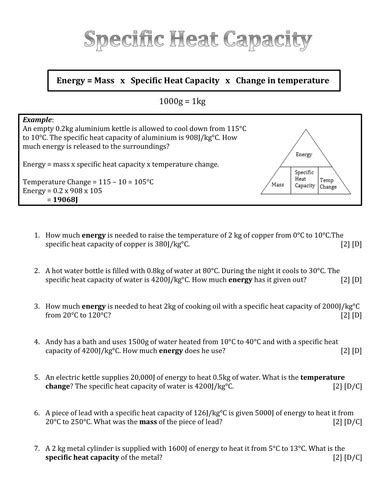 differentiated specific heat capacity calculation questions by ak251 teaching resources