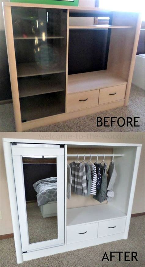 DIY   Entertainment Center Turned Into Kids Closet Armoire