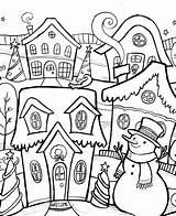 Coloring Christmas Pages Adults Winter Town sketch template