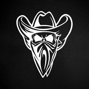 Simple color vinyl Outlaw Cowboy Wild West skull ...