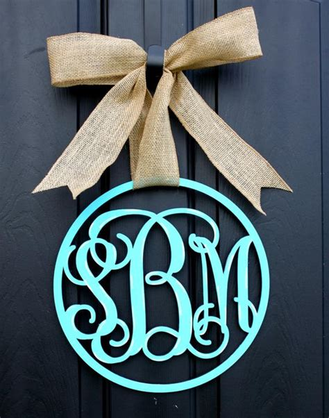 items similar  wooden monogram monogrammed wreath monogram door hanger wreath  etsy