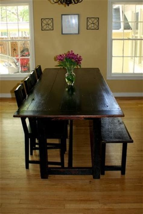 black distressed tavern style table with bench traditional dining room dallas by