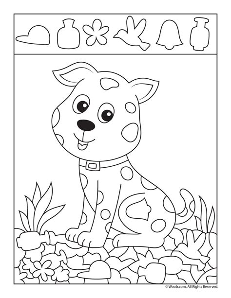 puppy picture page woo jr activities 676 | puppy hidden picture game