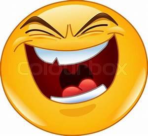 Emoticon with evil laugh   Stock Vector   Colourbox