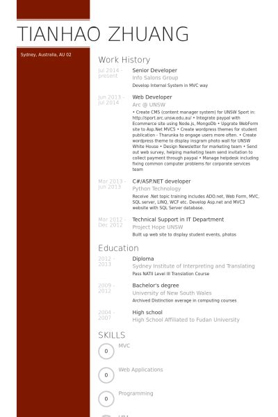 senior php developer resume sle senior developer resume sles visualcv resume sles database