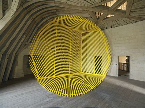 rousse georges chambord anamorphose anamorphoses adagp installation george exhibition expo une specific site desde arte circle yellow artist architecture space