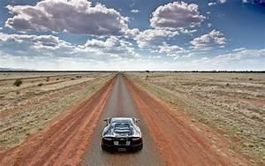 Lamborghini Aventador On Empty Country Road Wide