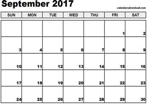 September 2017 Calendar Template September 2017 Calendar Weekly Calendar Template