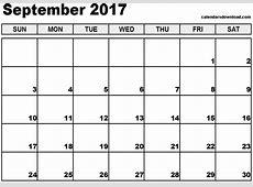 September 2017 Calendar Template calendar 2017 printable
