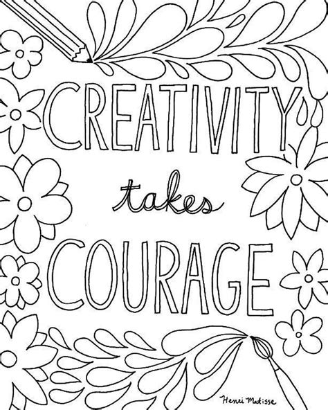 coloring for creativity creativity takes courage coloring page craft room