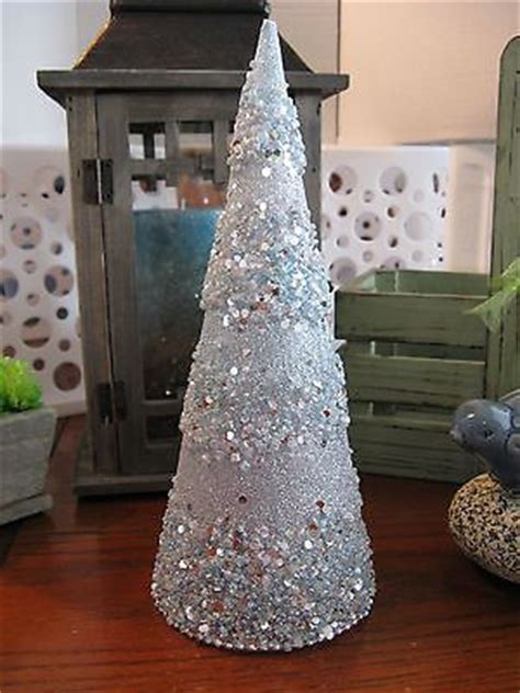 blue and silver cone christmas tree new robert stanley iced blue beaded glitter decorative cone tree it s all just stuff
