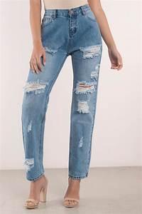 Distressed Denim - Blue Denim - Boyfriend Jeans - Santa Monica Denim - $30 | Tobi US