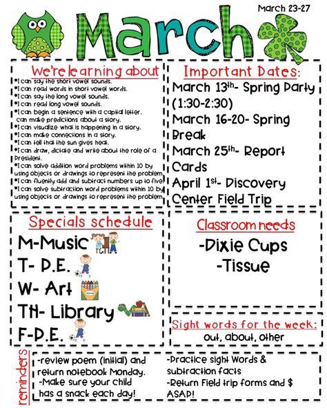 classroom newsletter freebie kickin it in kindergarten 780 | March23 27