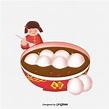 元宵節可愛手繪小女孩吃湯圓元素素材, 元宵節, 冬至, 卡通素材,PSD格式圖案和PNG圖片免費下載