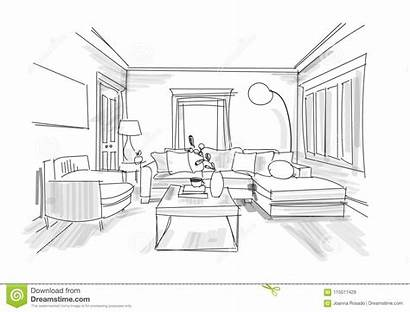Interior Sketch Furniture Hand Sitting Living Drawn