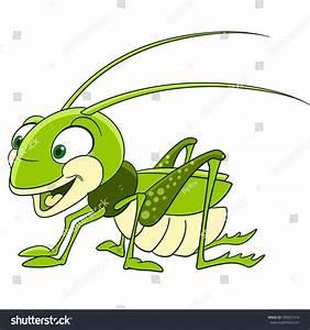 Cute And Funny Smiling Cartoon Grasshopper (Locust ...
